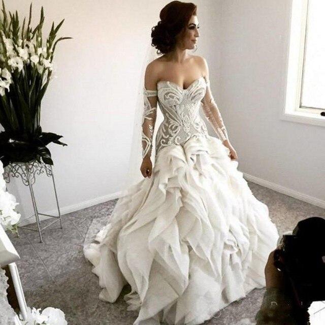 Arapça gelin elbiseleri önlük tam kollu gelinlikler robe de mariee düğün elbisesi fırfır gelinlik vestido de noiva 2020