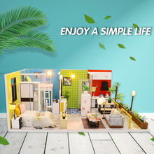 Simple Doll Houses Furniture Diy Miniature 3D Wooden Miniaturas Dollhouse Toys for Children Birthday Gifts Casa Kawaii Apartment(China)