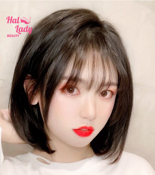 Halo Lady Beauty Clip In Bangs Human Hair Air Bang Brazilian Hair Pieces Invisible Seamless Non-remy Replacement Hair Wig 6