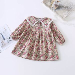 Image 5 - Spring New Arrival korean style cotton flowers pattern lace collar princess long sleeve dress for cute sweet baby girls