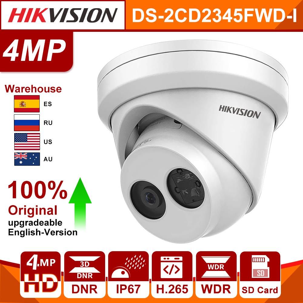 Original HIKVISION IP CAMERA 4MP IR Fixed Turret Network Dome Camera DS-2CD2345FWD-I POE Powered By Darkfighter