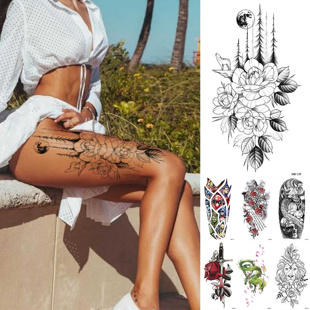 Waterdichte Tijdelijke Tattoo Sticker Bloem Rose Flash Tattoos Lalash Tattoos Snake Leeuw Body Art Arm Fake Mouwen Tatoo Vrouwen
