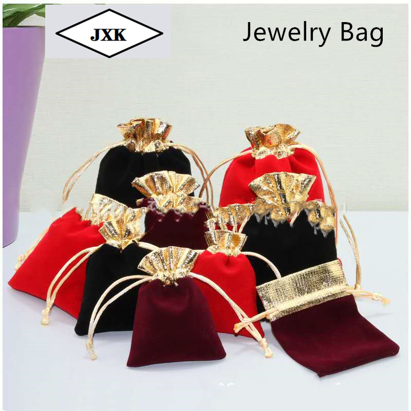50 Pcs/lot Vintage Velvet Package Bags 7x9 10x12 12x15cm  Drawstring Gift Bags Wedding Jewelry Packaging Box Pouches