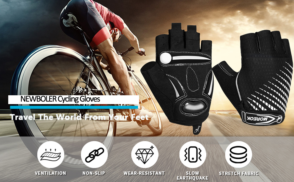 NEW Cycling Bike Half Short Finger Gloves Shockproof Breathable MTB Road Bicycle Gloves Men Women Sports Cycling Equipment