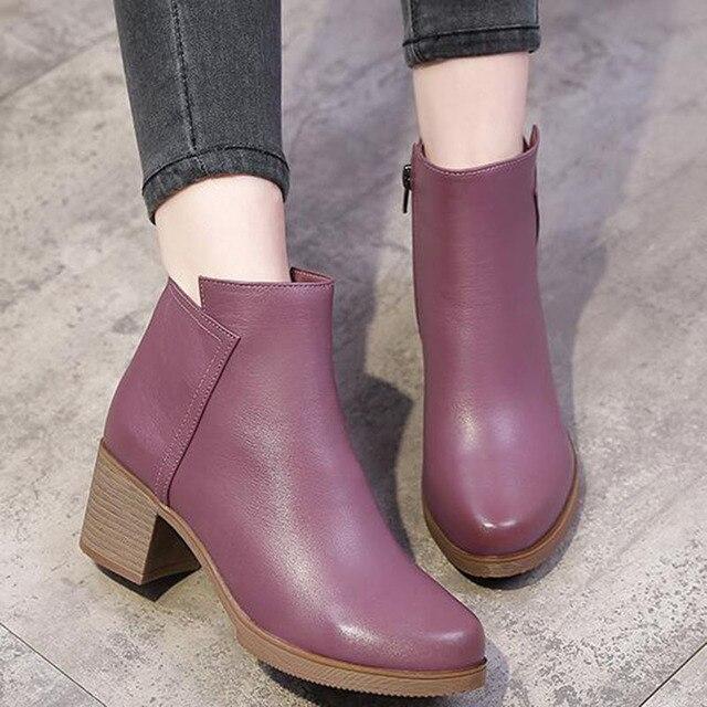 2020 Mới Giày Bốt Nữ Mùa Thu Giày Cao Gót Nữ Mắt Cá Chân Size 35 40 Mùa Đông Giày Bốt Thời Trang Công Sở Da Thật Chính Hãng Da giày