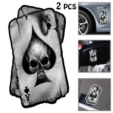2 Pcs New Style Spades A Skull Interesting Reflective Car Sticker Decals Vinyl Waterproof Decoration Cars Decor Stickers