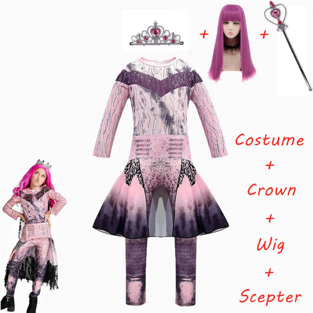 2020 New Pink Audrey Costumes Girl Halloween Costumes For Kids Fancy Party Girls Costume Evie Descendants 3 Mal Cosplay Fantasia Clothing Sets Aliexpress