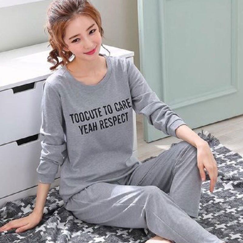 Casual Sports Tracksuit Women's Long Sleeve Pajamas Women's Spring And Autumn Gray Lettered Women's Qmilch 120 Grams Set