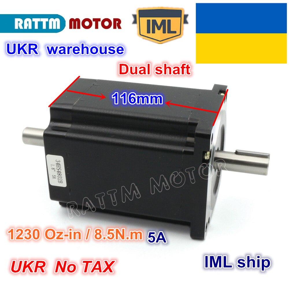UKR livraison gratuite NEMA34 116mm/1230Oz-in/5.0A 8.5N.m moteur pas à pas double arbre 4 fils pour petite et grande Machine de routeur de CNC