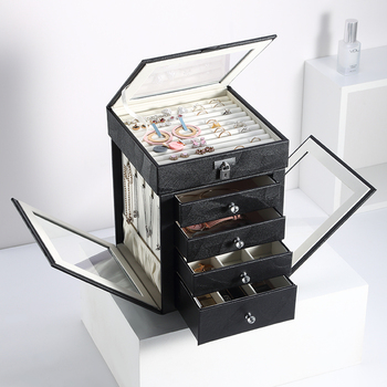 Casegrace 2020 Fashion 5Layers Large Jewelry Box Rotating Jewelry Display Casket Earrings Ring Boxes Jewelry
