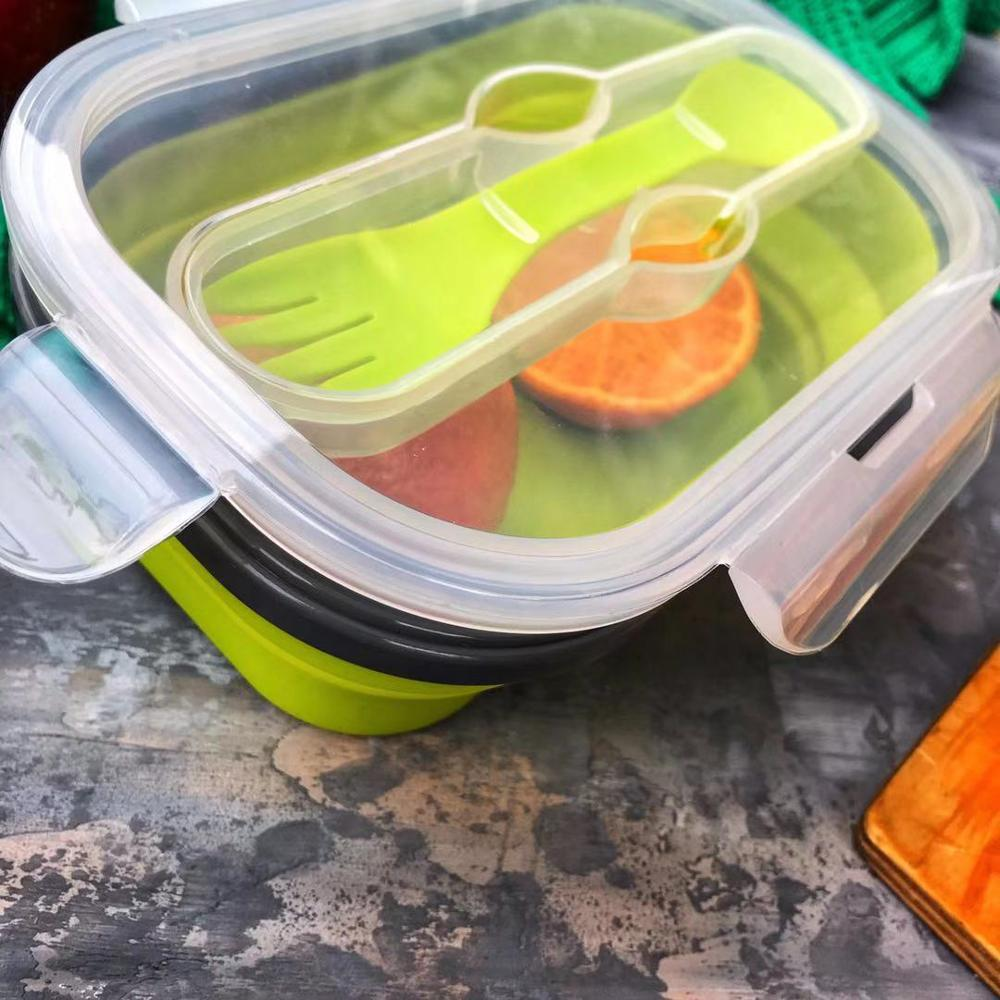 Silicone Lunch Bento Box For Kids Collapsible Lunch Box Food Containers Children Lunch Boxes Folding Portable Bento Lunch Box messenger bag