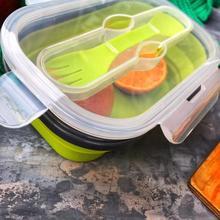 סיליקון הצהריים בנטו לילדים מתקפל קופסא אוכל מזון מכולות קופסות ארוחת הצהריים ילדים מתקפל נייד בנטו קופסא ארוחת הצהריים