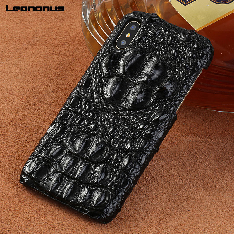 Étui pour iphone XR X XS en cuir de Crocodile véritable étui Max Marvel étui pour iphone 7 8 6plus Coque 6S haut de gamme antichoc