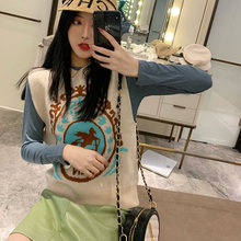 women autumn spring knitted vest female girls Fall 2019 New Loose pullover Jacket Sleeveless Outside Knitted Woman Sweater tops(China)