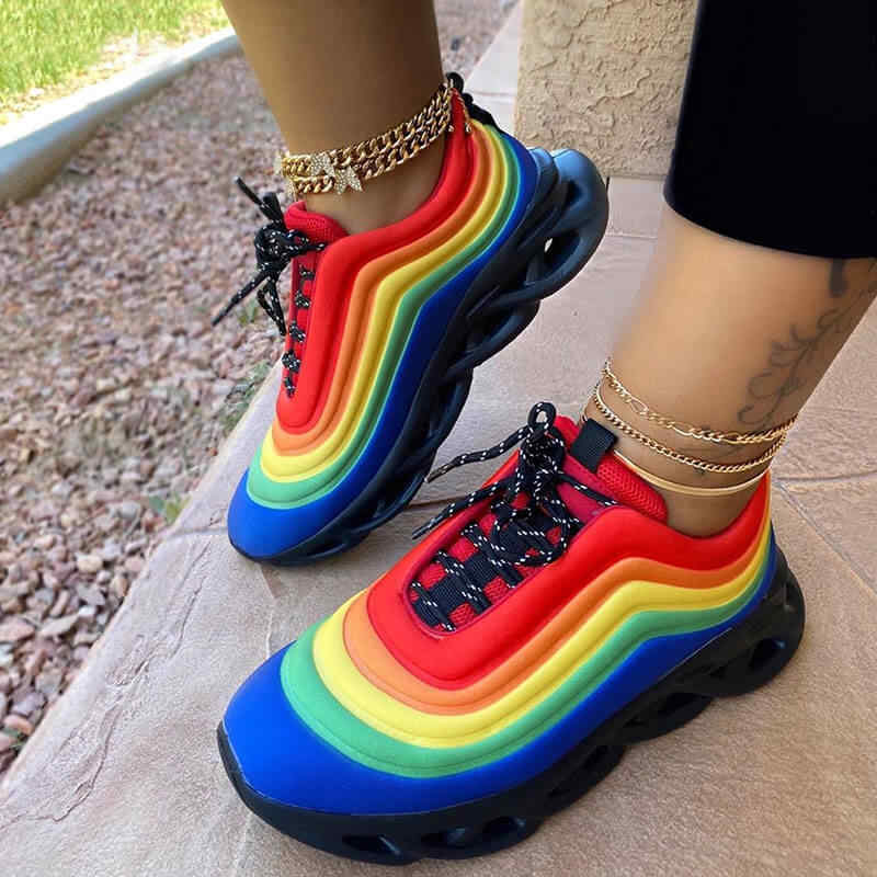 """Đế Phẳng Giày Người Phụ Nữ Phối Ren Plus Kích Thước Giày Thể Thao Sneaker Kẹo Dễ Thương Ngọt Giày Chaussures Femme Zapatos Mujer """"Sapato"""