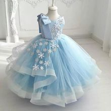 Girl Dress Communion-Dresses Flowerball-Gown Party Little Blue Child No for Bling Bling-Snow-Stars