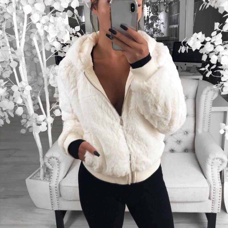Sıcak kürk kapşonlu palto kadın ceketler yıpratır 2019 fermuar katı sonbahar kış hoodies palto kadınlar temel ceketler chaqueta mujer