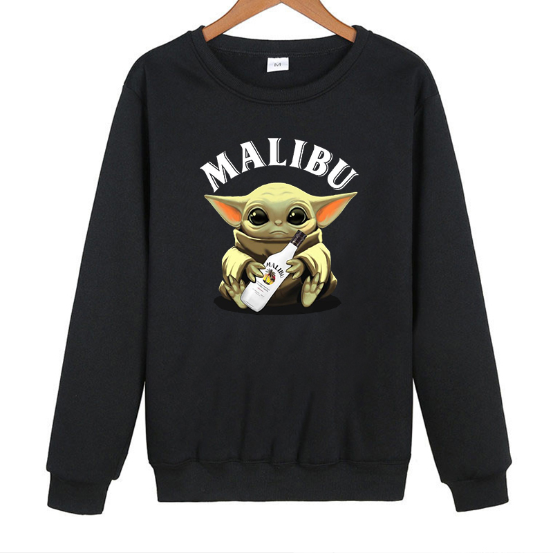 Baby Yoda Malibu Sweatshirt Woman Clothes Clothes Oversized Hoodies Harajuku Hoodie Casual Cartoon Pullovers