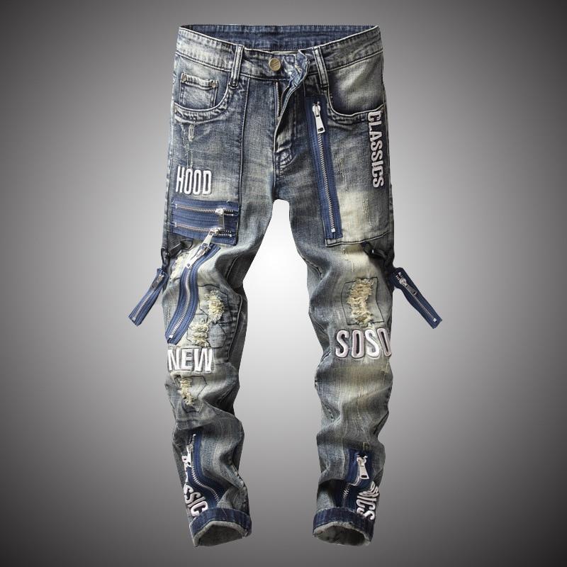 2020 New Fashion Vintage Moto Biker Jeans Men Hip Hop Streetwear Ripped  Denim Pants Trousers Zipper Male Slim Fit Clothes BP011