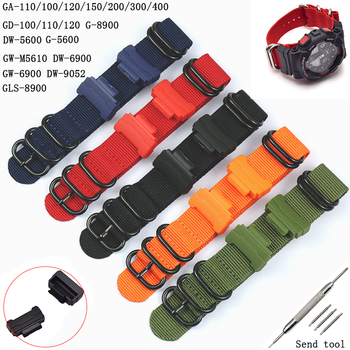 20 22mm Men's Nylon Strap for Casio G-SHOCK GD / GA / GLS-100 110 120 DW-5600 6900 GW-5610 Connector 14 16mm Women Sports Strap 1set adapter spring bars tools kit for g shock dw 5600 dw 6900 g 5700 ga 100 kit