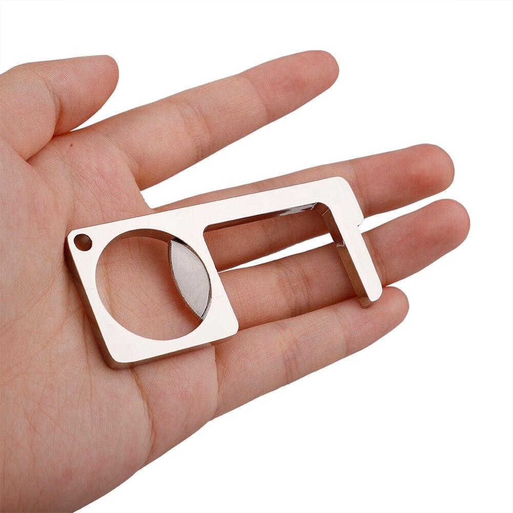 Antimicrobial Brass EDC Door Opener Door Handle Key Multifunctional Portable Press Elevator Tool Hygiene Hand