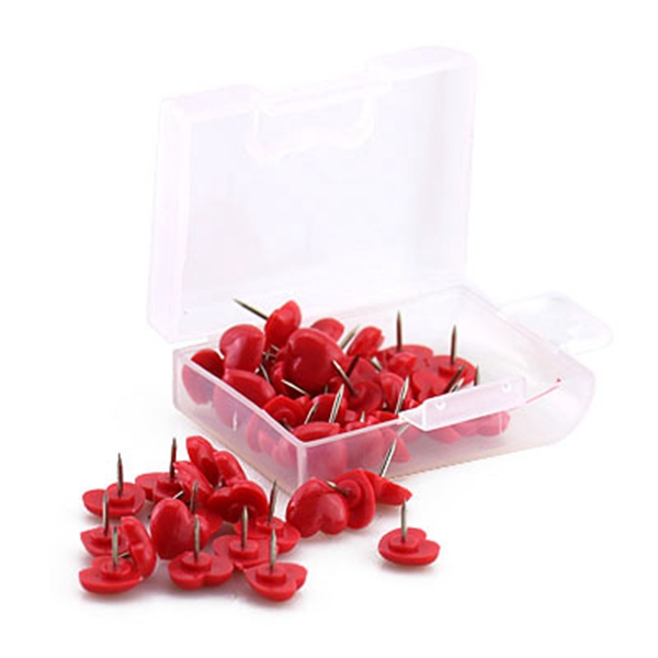 BESTHeart Shape 50pcs Plastic Quality Cork Board Safety Colored Push Pins Thumbtack Office School Accessories Supplies Red