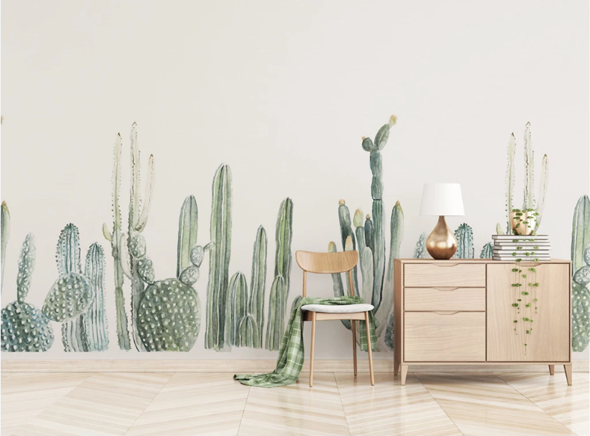 Custom Nordic Cactus Living Room Bedroom Background Wallpaper Mural