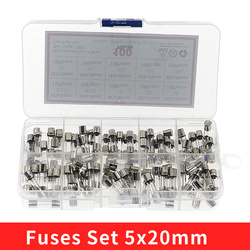 100Pcs/Box 5x20mm Fast-blow Glass Fuse Assorted Kit 0.2A 0.5A 1A 2A 3A 5A 8A 10A 15A 20A Amp Fuses Electrical Fuse Tube Mix Set