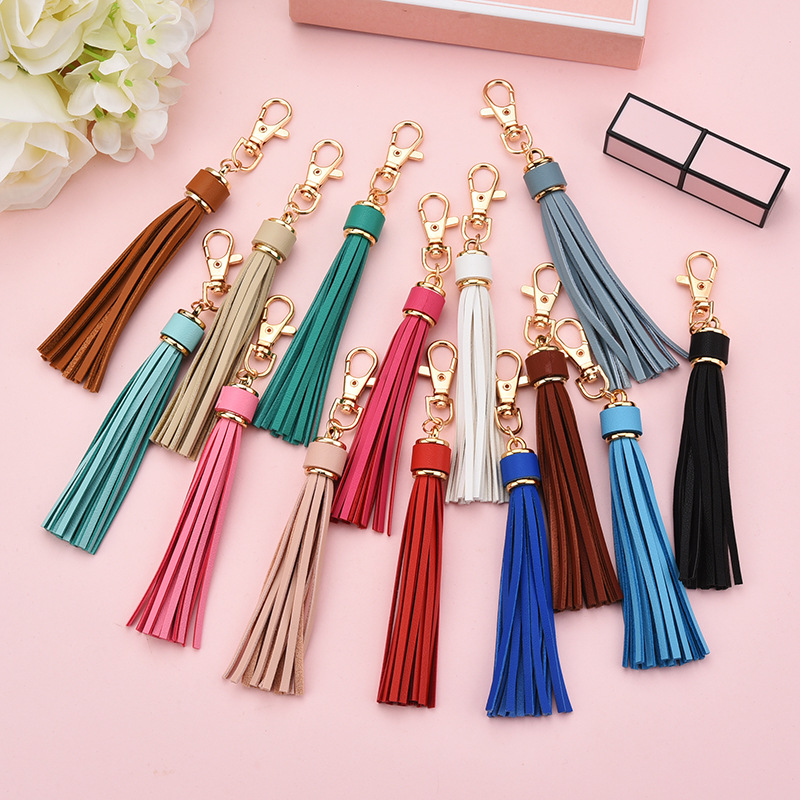 High End 5Pcs PU Leather Tassel Key Chain Ring Fringe Jewelry DIY Decorations Women Cute Long Tassel Bag Accessories