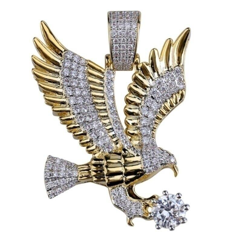 Модный ледяной цвет покрытый животным орлом крыло очарование кулон ожерелье микро проложить Циркон хип-хоп ювелирные изделия