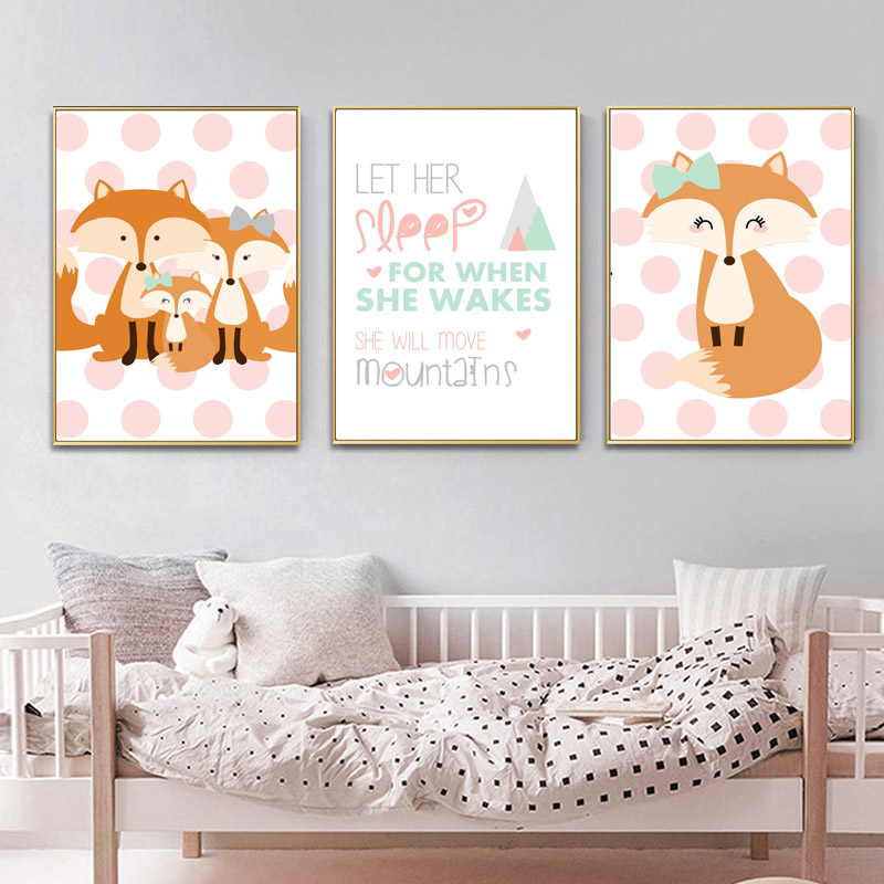 Kids Bedroom Wall Art Nursery Print Woodland Sleepy Fox Baby Room