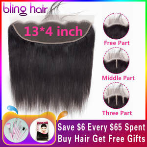 Closure 13x4 Human-Hair Hairline Lace-Frontal Bling Straight Natural Hair-Peruvian Middle/Free/three-part