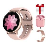 Frauen Smart Uhr + Gurt + Kopfhörer/Set Smartwatch Blutdruck Call Nachricht Erinnerung Fernbedienung Musik für iPhone Android PK DT88