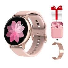 Feminino relógio inteligente + cinta fone de ouvido/conjunto smartwatch pressão arterial chamada mensagem lembrete remoto música para iphone android pk dt88