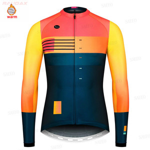 Gobikful Winter Thermal Fleece Cycling Clothes Men Long Sleeve Bike Jersey Set Mountain Road Cycling Thermal Fleece Cycling Set