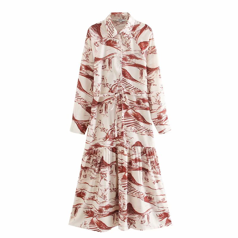 Women Elegant Ink Painting Print Casual Shirtdress Office Lady Turn Down Collar Sashes Vestido Chic Leisure Party Dresses DS3425