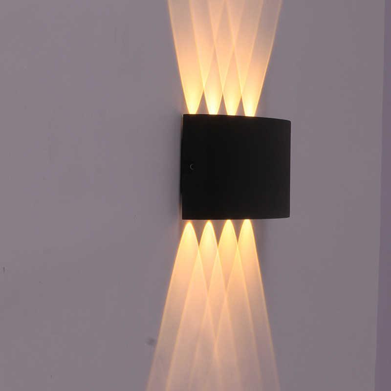 4 واط 6 واط 8 واط إضاءات جدران ضد الماء إضاءة خارجية مصابيح الحائط LED الشرفة تضيء أسفل الشمعدانات الديكور للمنزل الخارجي شرفة
