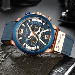 Image 4 - CURREN Luxe Merk Mannen Analoge Lederen Sport Horloges mannen Militaire Horloge Mannelijke Datum Quartz Klok Relogio Masculino 8329