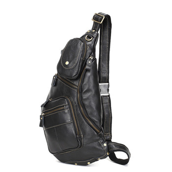 Multi Functional Men Genuine Leather Cowhide Sling Chest Back Day Male Travel Fashion Cross Body Messenger Shoulder B new men genuine leather first layer cowhide high capacity travel cross body shoulder messenger sling chest day pack bag