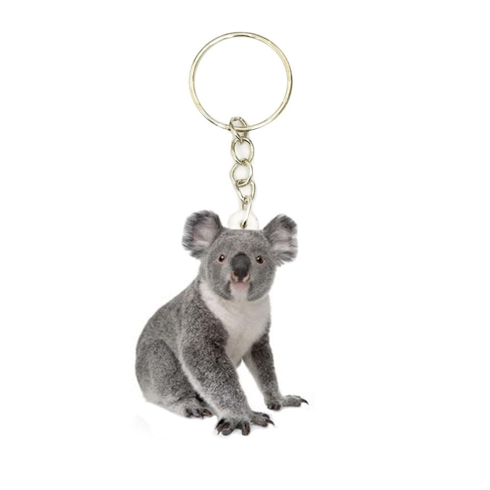 Koala Bear Acrylic Keychain Animal Silver Keyring Pendants Gift Best Friend Key Chain Accessories Keyrings Men Car Keychains