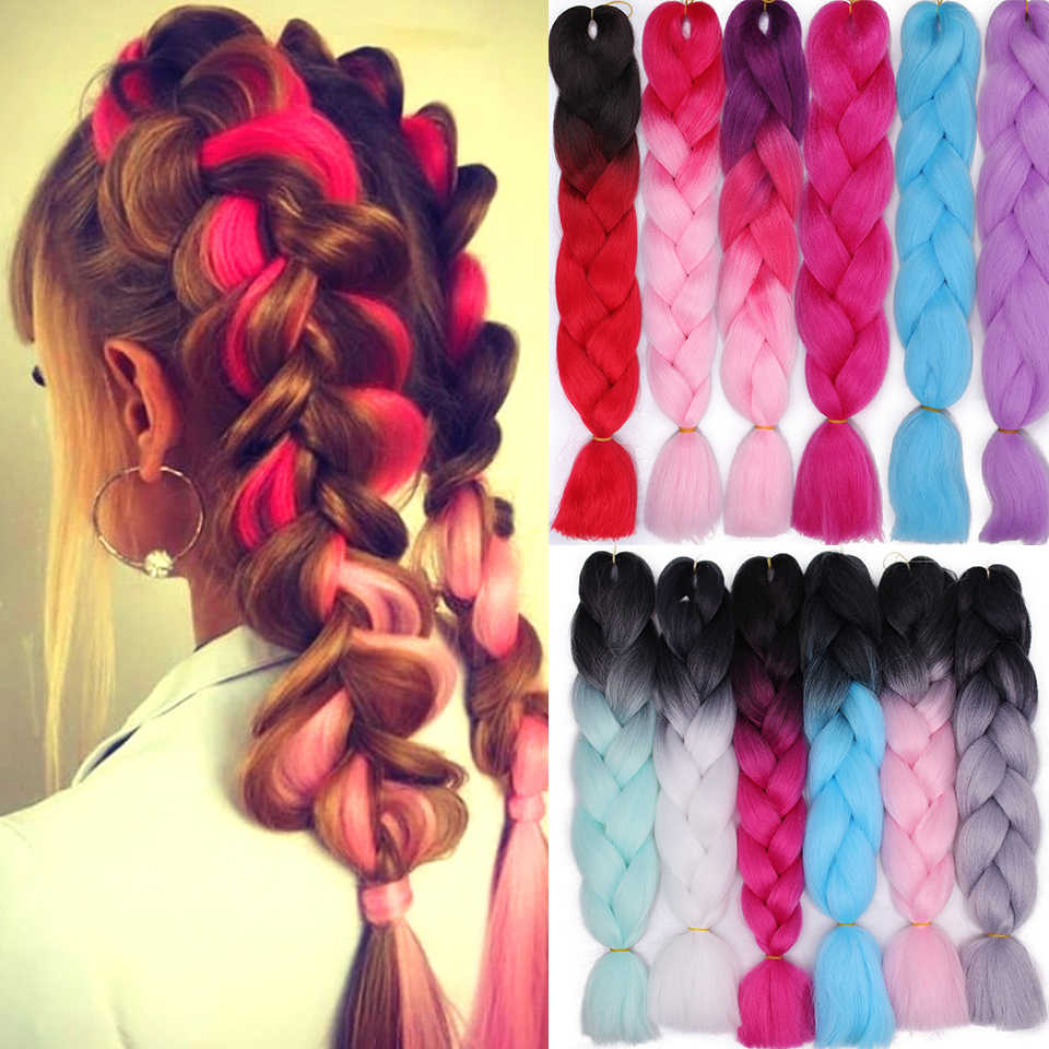 Women's Jumbo Ombre  Braids Synthetic Braiding Hair Extensions For Crochet Braids Kanikalon Multi-Tones for African AmericanKane