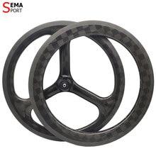 16 pollici 349 ruota in carbonio Brompton SEMA 3 raggi triraggio Fnhon parti di biciclette bicicletta pieghevole 74mm copertoncino personalizzato cerchio leggero