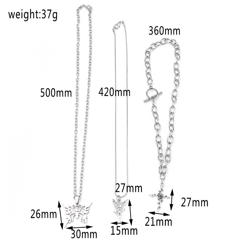 Hollow Out Butterfly Angel Cross Shape Pendant Necklace Hip Hop 3 Layers Alloy Necklace Birthday Jewelry Gifts For Women Girls