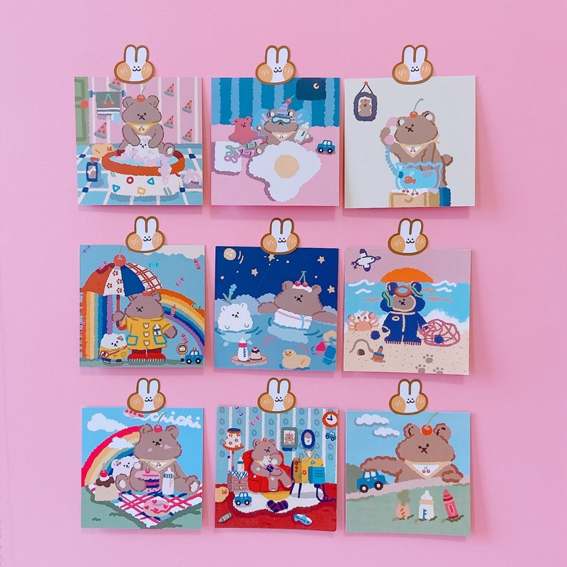 Ins Hot Sale Postcard Cute Cartoon Bear Bear Book Decoration Card Photo Props Non-sticky Hand Made Card Children Gifts
