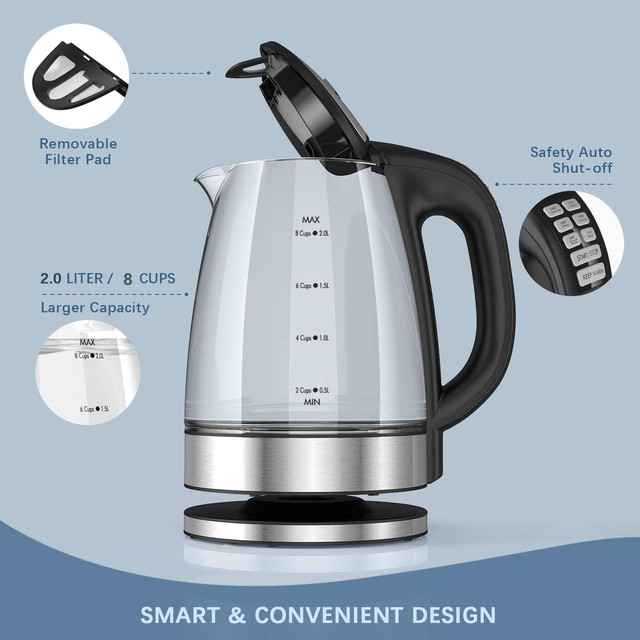 DEVISIB Variable Temperature Electric Kettle 2.0L Glass for Tea Coffee Keep Warm Function Boil-Dry Protection Kitchen Appliances 6