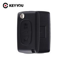 KEYYOU-mando a distancia con 2 botones para coche, carcasa Fob para PEUGEOT 307, 308, 107, 207, 407, 408, con ranura, CE0523