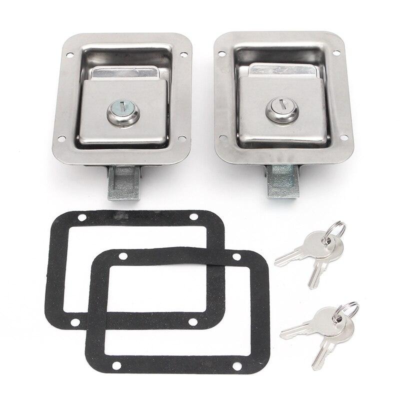 2 Sets Trailer Truck Toolbox Door Lock Stainless Steel Handle Door Lock T-Panel Lock Door Handle Latch