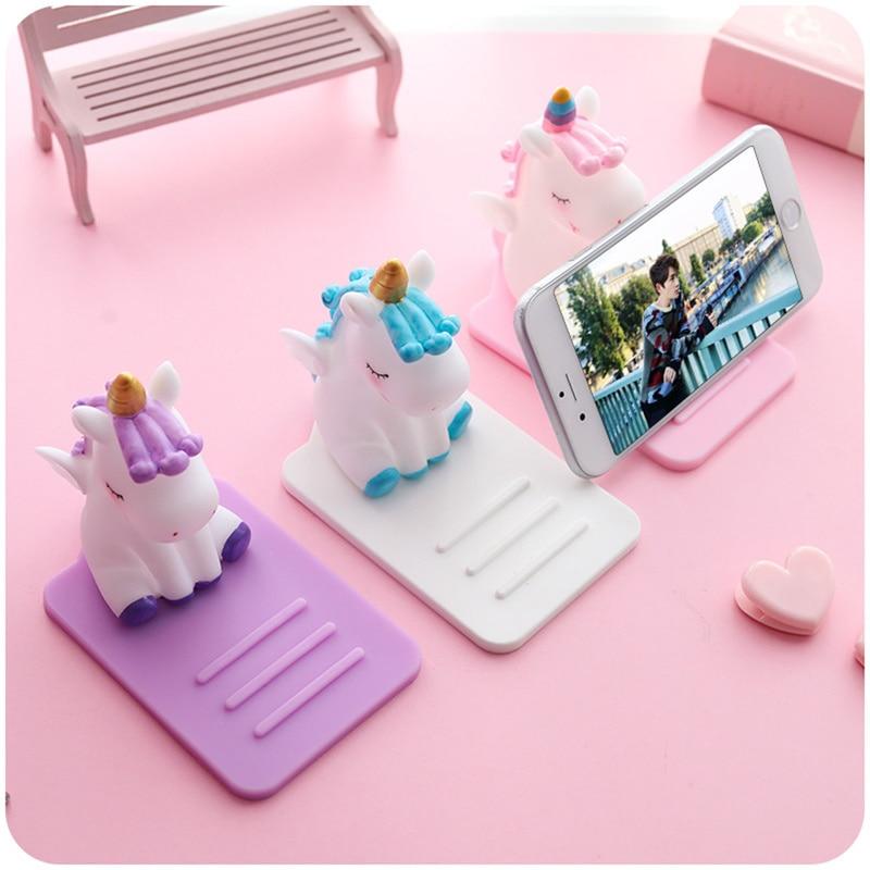 Cartoon For Unicorn Mobile Phone Bracket Base Mobile Phone Holder Stand Decoration Car Desktop Multi-function Adjustable Bracket