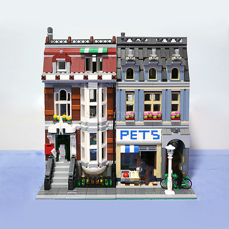 15009 2082pcs City Street Pet Shop Model Building Kits Blocks action bricks Children's Christmas toys Compatible with 10218