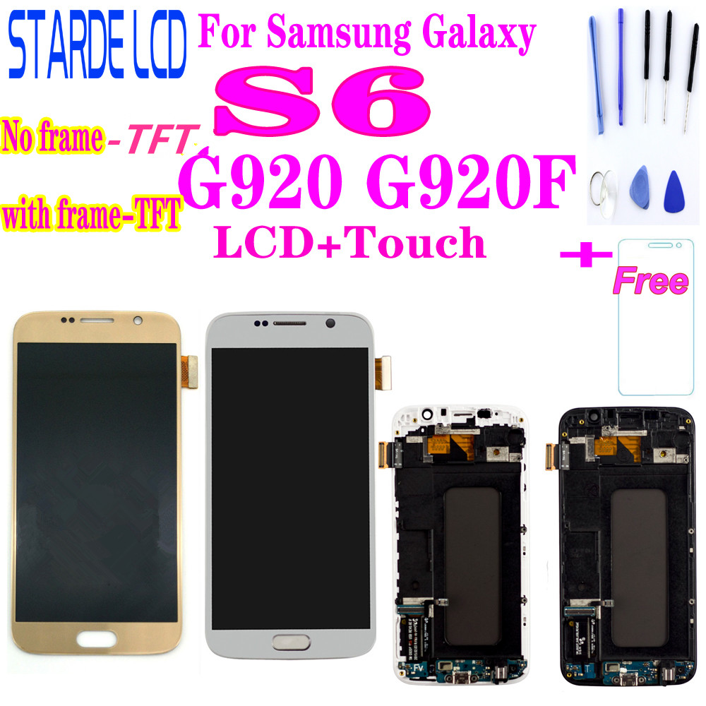 100% Tested Super Amoled For <font><b>Samsung</b></font> Galaxy S6 <font><b>G920</b></font> G920F Lcd <font><b>Display</b></font> Touch Screen Digitizer Assembly with frame image